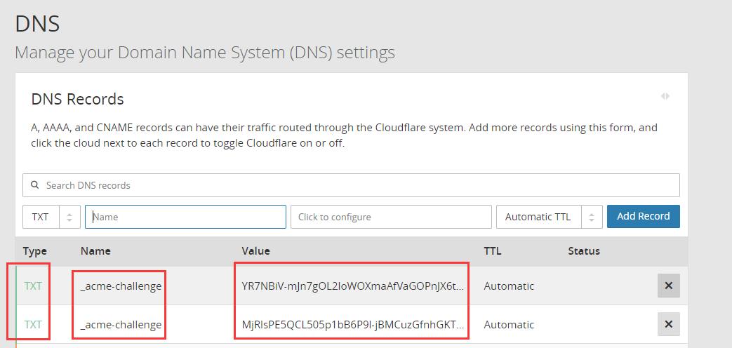 添加两条 TXT DNS解析记录