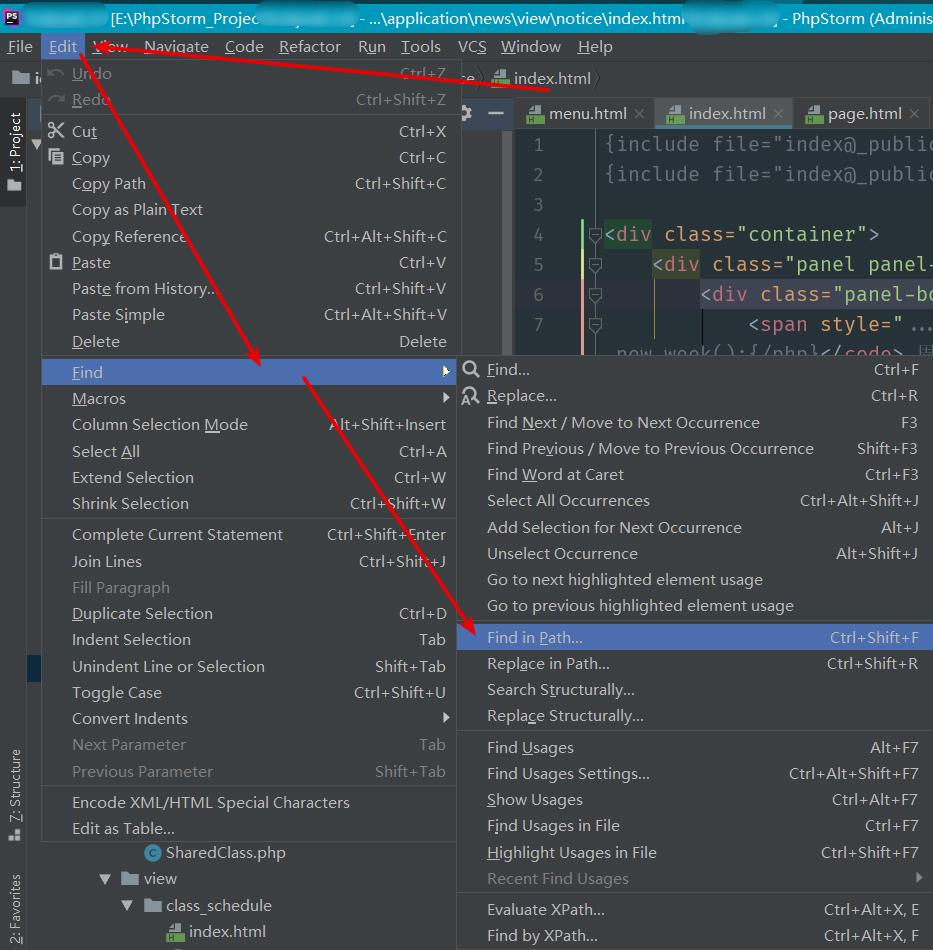 如果快捷键打不开,请手动在菜单栏找到 Edit -> Find -> Find in path,打开搜索窗口