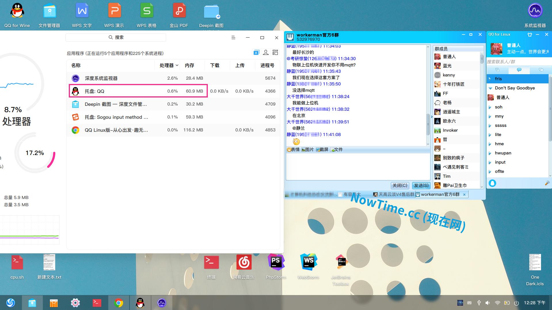 QQ Linux CPU 内存占用情况